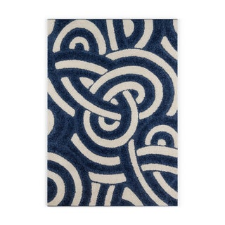 Jullian Navy/ Ivory Abstract Shag Rug (7'7 x 10'6)
