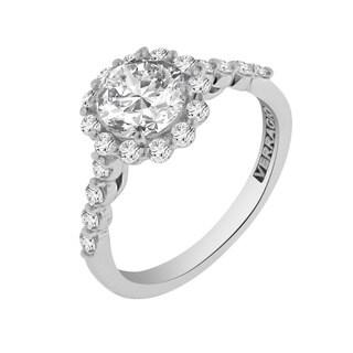 Verragio 18k White Gold 5/8ct TDW Diamond and Cubic Zirconia Engagement Ring (F-G, VS1-VS2)
