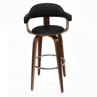 Adeco Wood Frame, Black Seat PU Deluxe BarStools