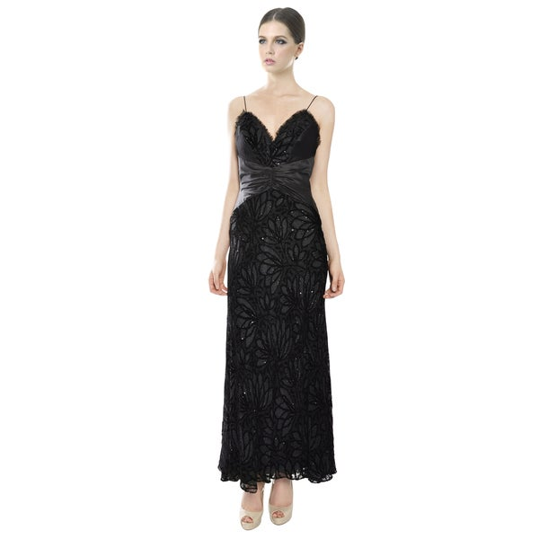Badgley Mischka Fabulous Black Lace Evening Gown