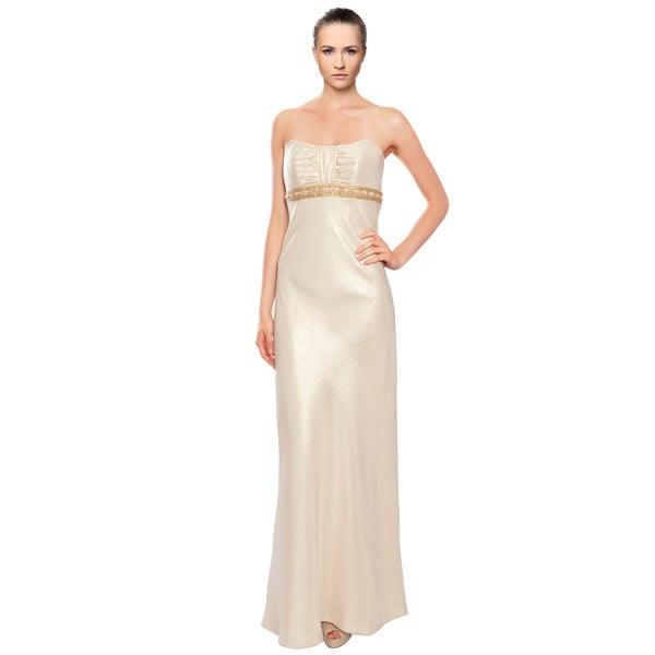 Badgley Mischka Gold Metallic Brocade Evening Gown