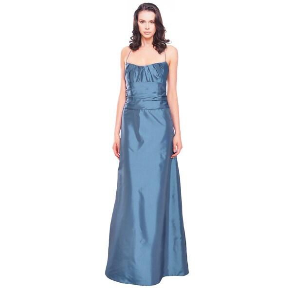 Amsale Elegant Steel Blue Pleated Taffeta A-line Evening Gown