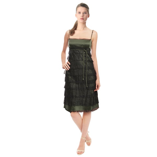 Chado Tiered Black Lace Cocktail Dress