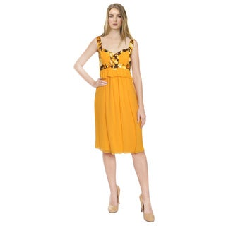 Carolina Herrera Marigold Silk Cocktail Dress