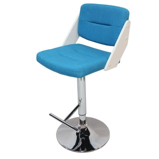 Adeco Blue Adjustable Barstool With Fabric