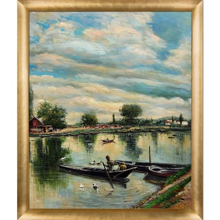 Giovanni Boldini 'River Landscape, 1877' Hand Painted Framed Canvas Art