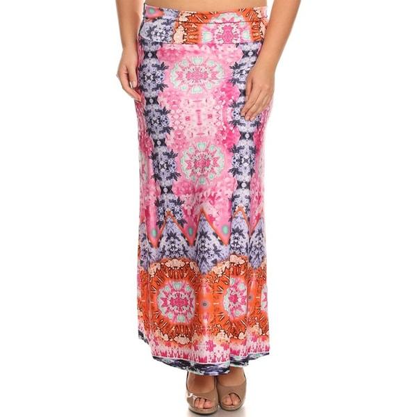 Moa Women's Plus Size Pattern Maxi Skirt