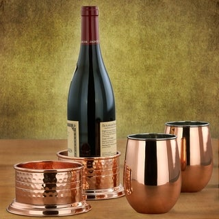 2PLY Solid Copper and Stainless Steel Stemless Wine Glasses, Set of 2