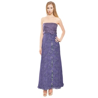 Carlos Miele Indigo Purple Floral Lined Evening Gown