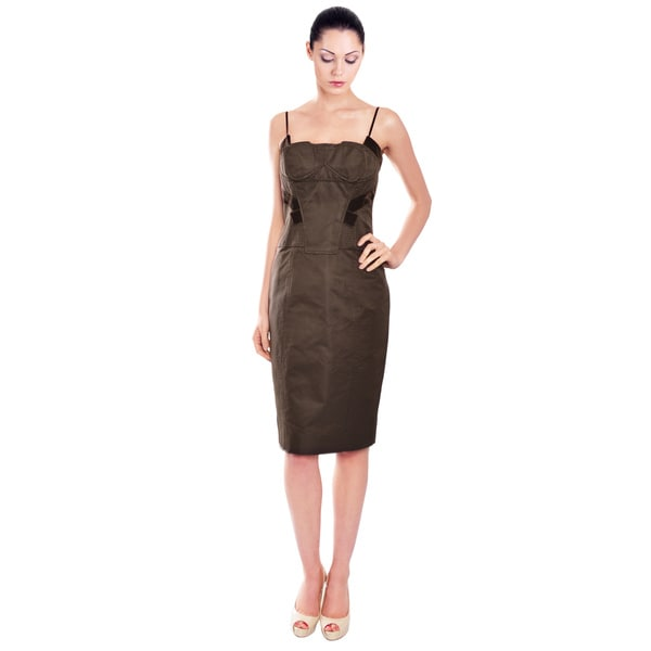 Carolina Herrera Exquisite Brown Sheath Velvet Trim Cocktail Dress