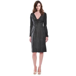 Carolina Herrera Little Black Fitted Long Sleeve Cocktail Dress