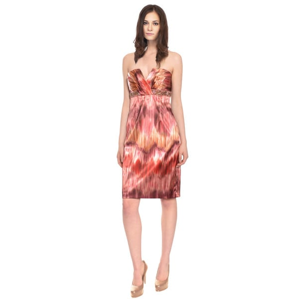 David Meister Tropical Strapless Beaded Evening Dress