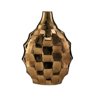 Elements 13-inch Metallic Bronze Rippled Vase