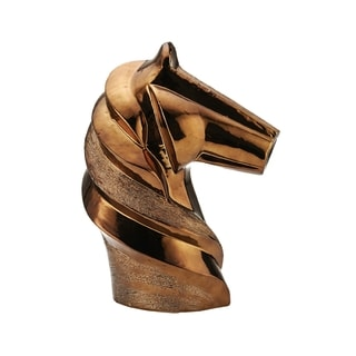 Elements 12-inch Ceramic Bronze Horse Head