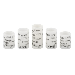 Pfaltzgraff Set 5 Wax Led Candles Everday Sentiment