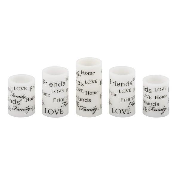 Pfaltzgraff Set 5 Wax Led Candles Everday Sentiment