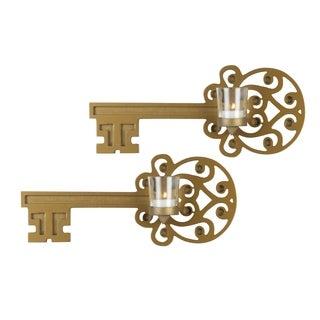 Elements Vintage Bronze Key Sconce (Set of 2)
