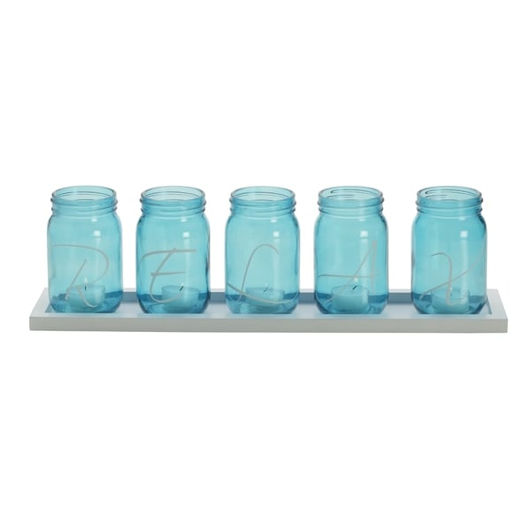 Elements Relax Blue Mason Jar Lights 5