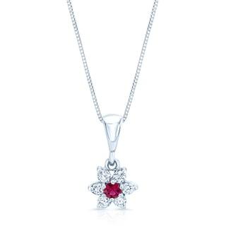 14k White Gold Ruby 1/3ct TDW Diamond Flower Pendent (F-G, I1-I2)