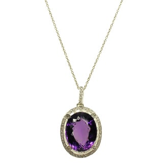 Kabella 14k White Gold Amethyst and Diamond Accent Pendant (G-H, SI1-SI2)