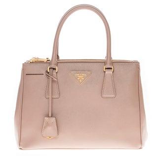 Prada 'Lux' Camel Saffiano Leather Double-Zip Handbag