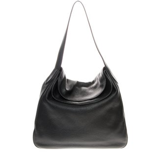 Prada 'Vitello Daino' Double Flap Top Leather Hobo Handbag