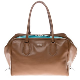 Prada Brown Soft Calf Leather Large Handbag