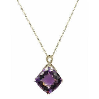 Kabella 18k White Gold Amethyst and Diamond Accent Accent Pendant (G-H, SI1-SI2)