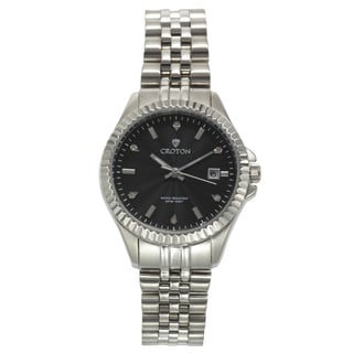 Ladies Silvertone Stainless Watch with Black Dial & Diamond Markers