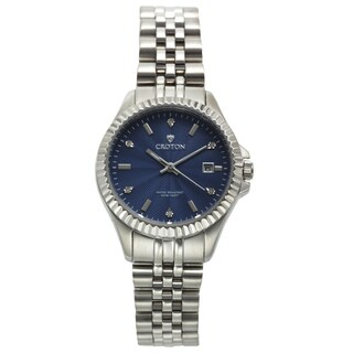 Ladies Silvertone Stainless Watch with Blue Dial & Diamond Markers