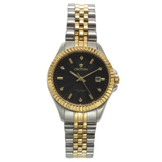 Croton Women's CN207528TTBK Stainless Steel Two-tone Diamond Marker Watch