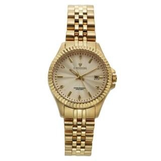 Croton Women's CN207528YLCD Stainless Steel Goldtone Diamond Marker Watch