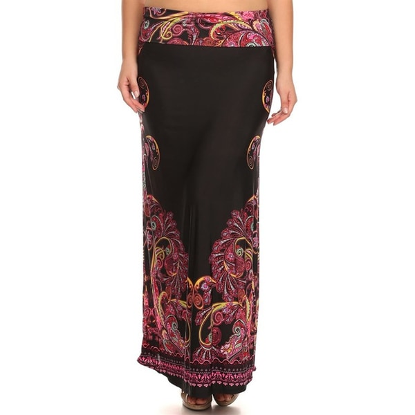 Women's Plus Size Black Print Maxi Skirt