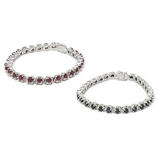 De Buman Sterling Silver Natural Ruby or Natural Sapphire Bracelet