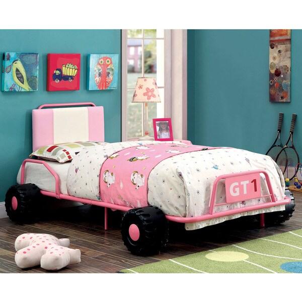 Furniture of America Jessie Pink Metal Racing Twin Bed