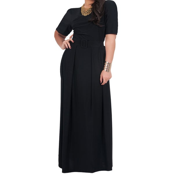 KOH KOH Women's Plus Size High Crossover Wide Belt Full Length Maxi Dress