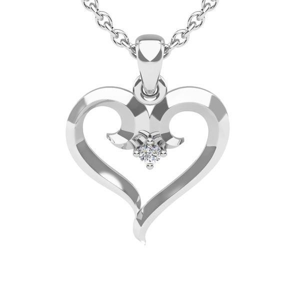 White Gold Swirly Heart With Single Fiery 5 Point Diamond on 18 Inch Chain