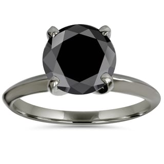 14k Black Gold 3.00ct Black Enhanced Diamond Solitaire Engagement Ring (Black,I2-I3)