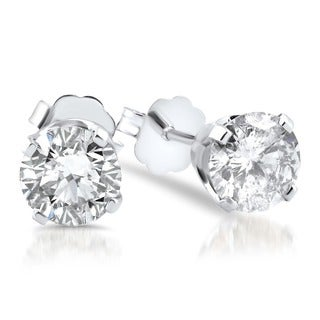 14k White Gold 1 1/2ct TDW Diamond Studs (I-J, I2-I3)