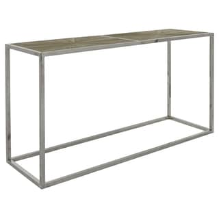 Safavieh Couture Collection Abbot Parquet Elm Stainless Steel Smokey Grey Console Table