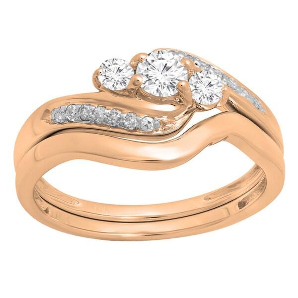 14k Gold 1/2ct TDW Round Diamond Swirl 3-stone Bridal Set (H-I, I1-I2)