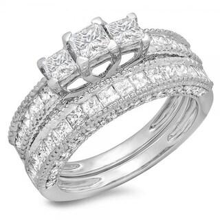 14k White Gold 2 1/3ct TDW Princess and Round Diamond Bridal 3-stone Engagement Ring Set (I-J, I1-I2)