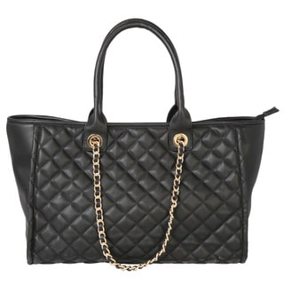 Rimen & Co. Large Quilted Tote Handbag with Gold Chain