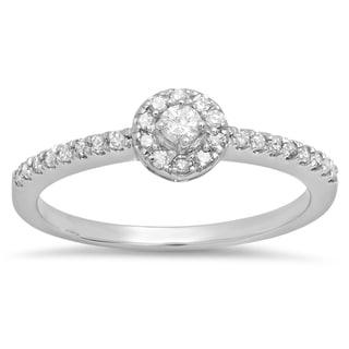 Sterling Silver 1/3ct TDW Round Diamond Engagement Halo Ring (J-K, I2-I3)