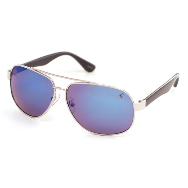 Men's Khan Logo Mirrored Metal Aviator Sunglasses