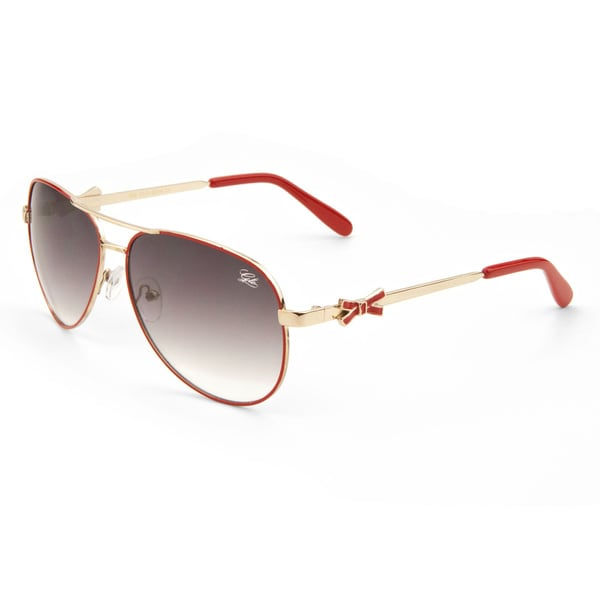 Women's GLO Bow Temple Metal Aviator Sunglasses