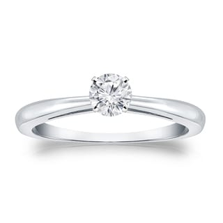 Auriya 14k Gold 1/4ct TDW Round-cut Diamond Solitaire Engagement Ring (H-I, VS1-VS2)