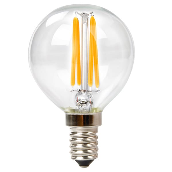 Goodlite G-83411 3.5W Filament LED G16.5 Globe Candelabra base Dimmable, 400 Lumens 27k Warm White=40 Incandescent , 10 pack