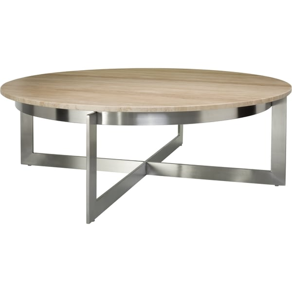 Safavieh Couture High Line Collection Irma Travertine Marble Stainless Steel Round Cocktail 17278257