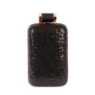 Halston Black Sparkle Leather Cell Phone Minaudiere